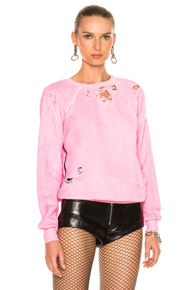 Unravel Destroyed Terry Raglan Crewneck Sweatshirt in Fuchsia