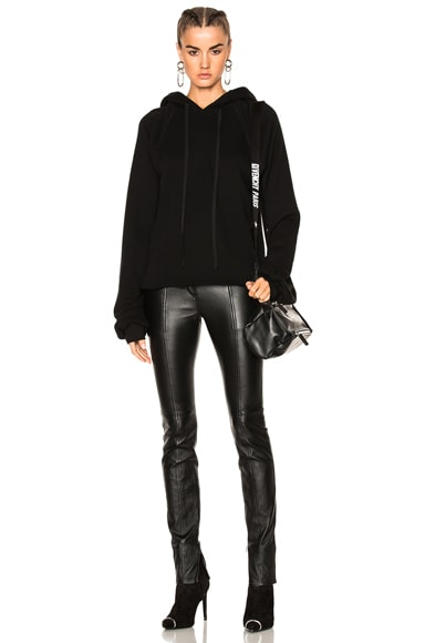 Unravel Oversized Sleeve Cashmere Hoodie in Black
