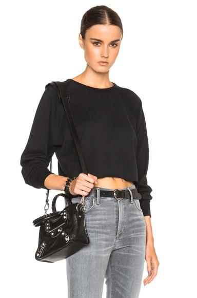 Unravel Cropped Raglan Sweatshirt in Black