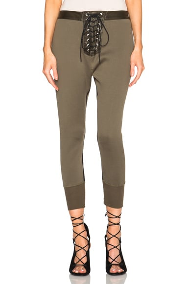 Unravel Lace Up Leggings in Army Green Sunfade