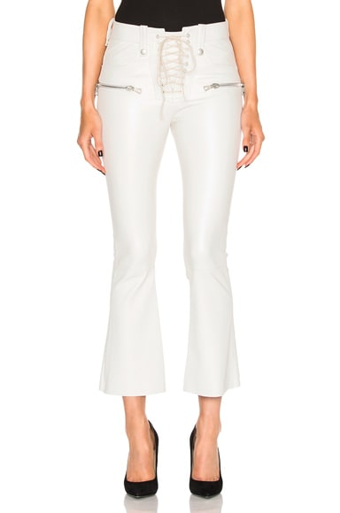 Unravel Lace Front Crop Flare Leather Pants in White