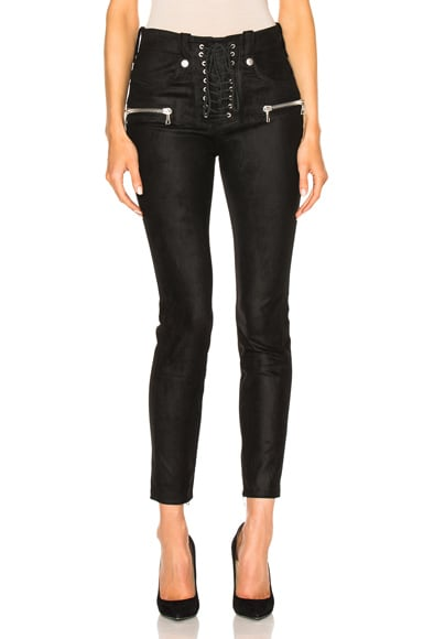 Unravel Suede Lace Up Skinny in Black