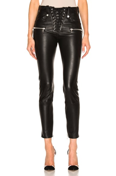 Unravel Lace Front Skinny Leather Pants in Black