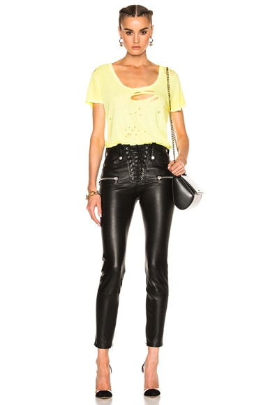 Lace Front Skinny Leather Pants