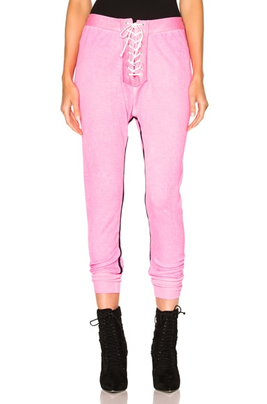 Unravel for FWRD Lace Up Leggings in Sunfaded Neon Pink