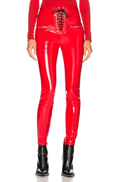 Latex Lace Up Seam Pants