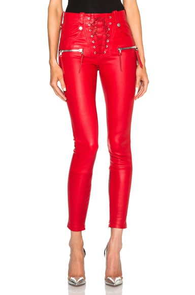 Unravel Lace Front Leather Skinny Pants in Red