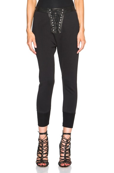 Unravel Lace Front Cotton & Leather Sweatpants in Black