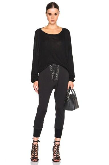 Lace Front Cotton & Leather Sweatpants