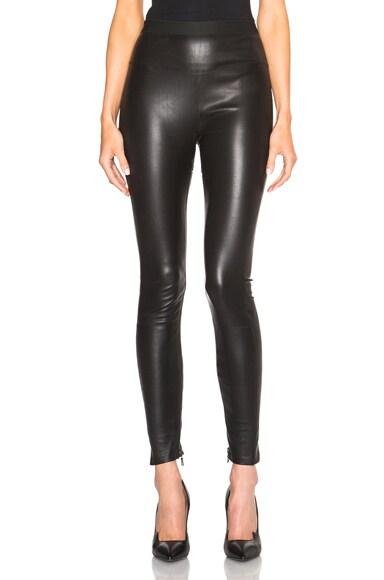 High Waist Zip Leather Leggings