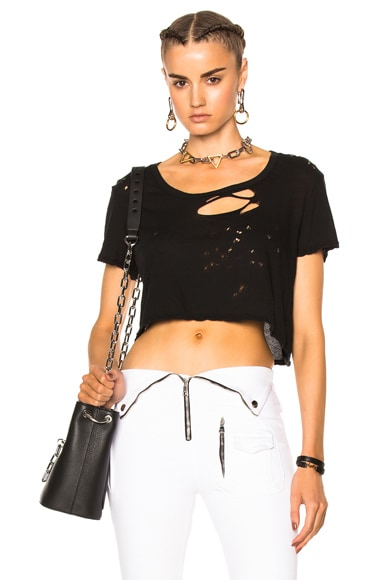 Unravel Distress Cropped Basic Tee in Black
