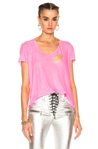 Unravel for FWRD Basic Tee in Neon Pink