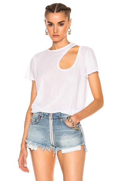 Unravel Cut Out Basic Tee in White