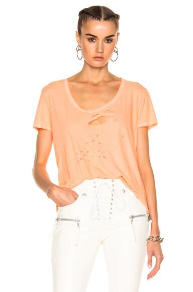 Unravel Distressed Jersey Basic Tee in Orange
