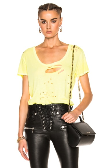Unravel Distressed Jersey Basic Tee in Yellow