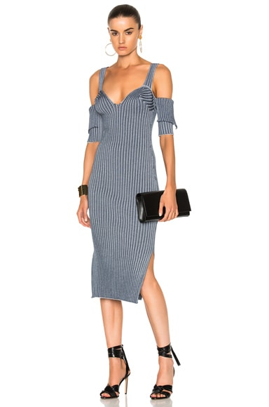 Bicolor Rib High Slit Dress