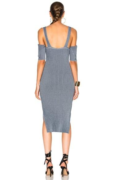 Bicolor Rib High Slit Dress