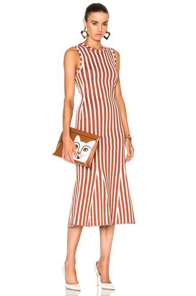 Victoria Beckham Wide Stripe Intarsia Fitted Kick Dress in Copper & White