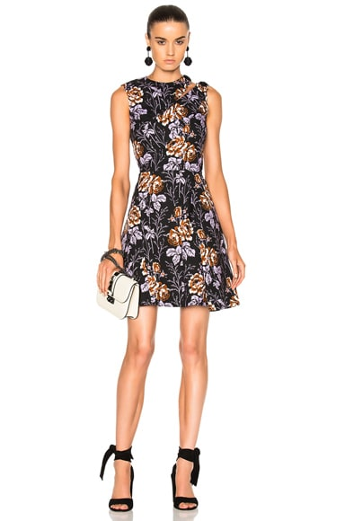 Victoria Beckham Cotton Print D-Ring Mini Dress in Rose Black & Lilac