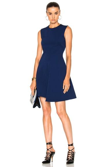 Victoria Beckham Dense Rib Sleeveless Drape Mini Dress in Indigo