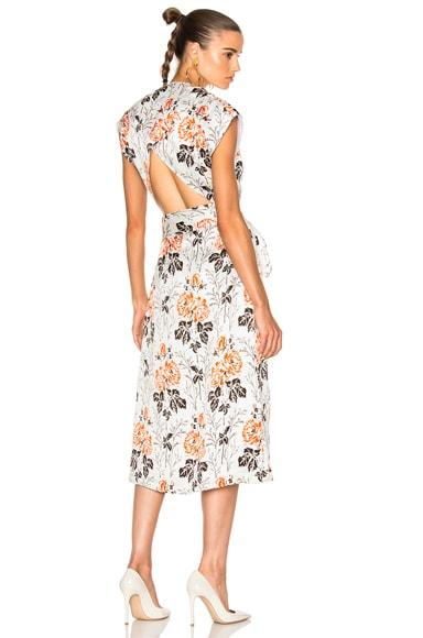 Victoria Beckham Crepon Print Belted Wrap Midi Dress in Rose White & Orange