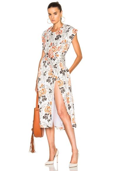 Crepon Print Belted Wrap Midi Dress
