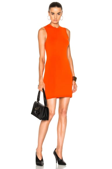 Victoria Beckham Compact Jersey Sleeveless Fitted Mini Dress in Bright Orange