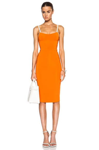 Victoria Beckham Cross Back Cami Dress in Mandarin & Nude