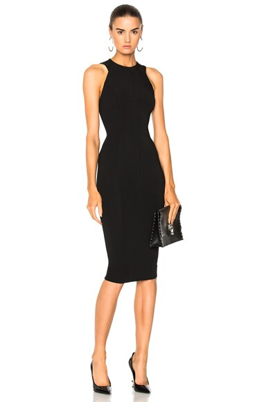 Dense Rib Jersey Cut Out Back Fitted Dress