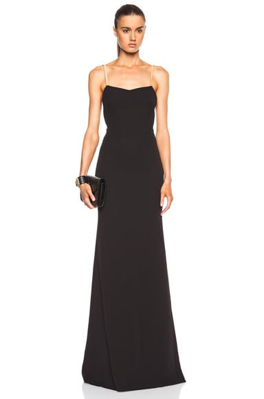 Victoria Beckham Cami Floor Length Gown in Nude & Pom Pom Black