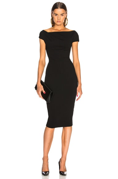 Shoulder Drape Fitted Midi Dress
