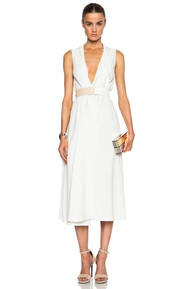 Victoria Beckham V-Neck Drape Midi Dress in Ivory