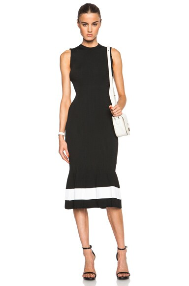 Victoria Beckham Crewneck Dress in Black & White Stripe