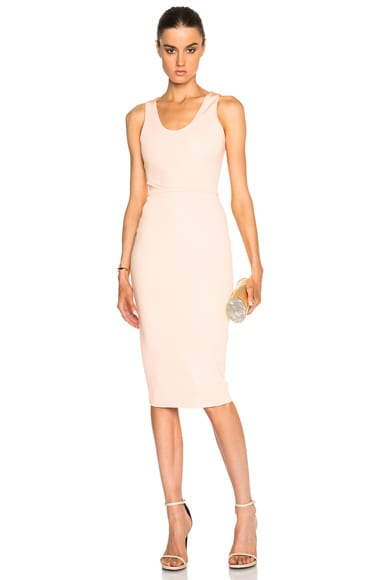Victoria Beckham Dense Rib Tank Fitted Dress in Sherbet