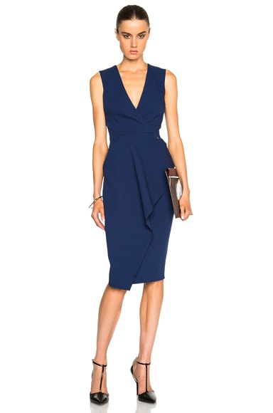 Victoria Beckham Light Matte Crepe Wrap Dress in Smoke Blue