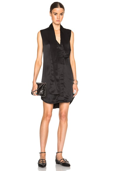 Victoria Beckham Stain Shine Twill Front Tie Dress in Black