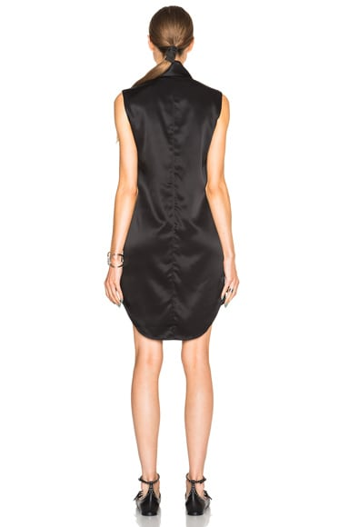 Stain Shine Twill Front Tie Dress