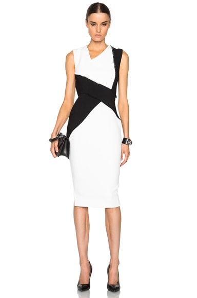 Victoria Beckham Dense Sable Patchwork Fitted Dress in Black & White