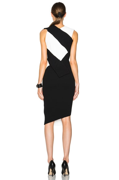 Dense Sable Patchwork Fitted Dress