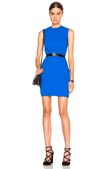 Victoria Beckham Light Matt Crepe Paneled Mini Dress in Electric Blue