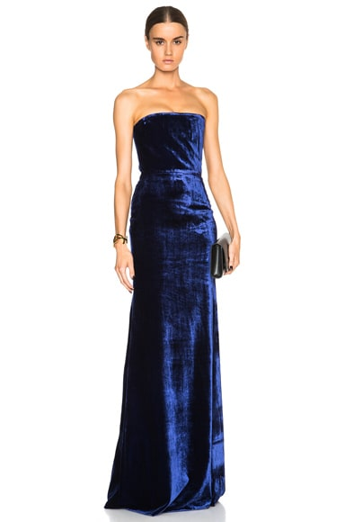 Victoria Beckham Velvet Corset Floor Length Gown in Blue