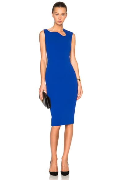 Victoria Beckham Matte Crepe Curve Neck Fitted Dress in Cobalt Blue
