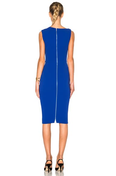 Matte Crepe Curve Neck Fitted Dress