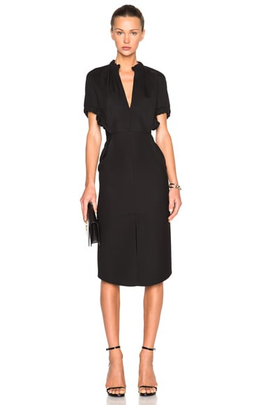 Victoria Beckham Compact Microtwill Ruched Dress in Black
