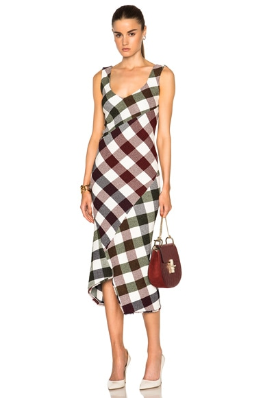Victoria Beckham Bounce Gingham Open Back Midi Dress in Multi