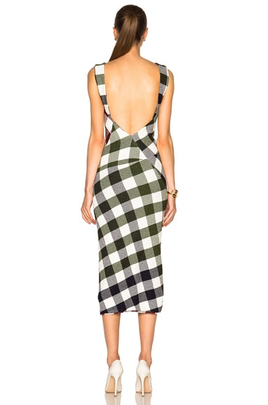 Bounce Gingham Open Back Midi Dress