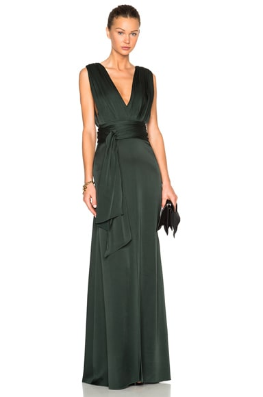 Victoria Beckham Draped Floor Length Dress in Forest Green