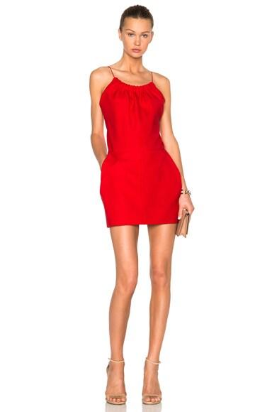 Victoria Beckham Ruffle Cami Mini Dress in Red