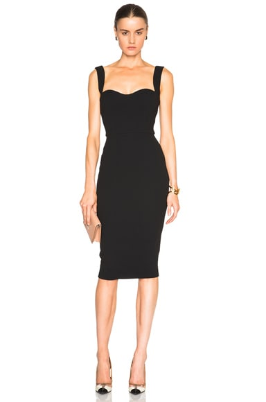 Victoria Beckham Matte Crepe Curve Dress in Black
