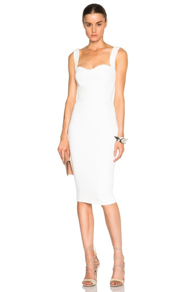 Victoria Beckham Matte Crepe Curve Dress in White